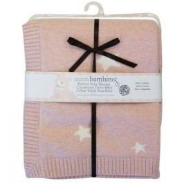Pletená deka hvězdičky 76x76 cm růžová