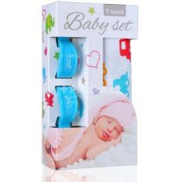 Baby set - bambusová osuška auta + kočárkový kolíček modrý