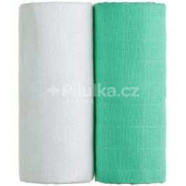 Látkové TETRA osušky 100 x 90, sada 2 ks, bílá + zelená