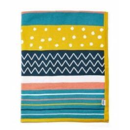 Pletená deka různobarevné pruhy