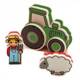 Pěnová stavebnice do vany Traktor zelený