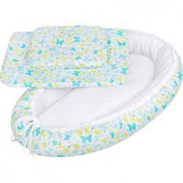 Luxusní hnízdečko s peřinkami pro miminko New Baby modří motýli