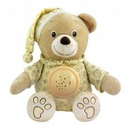 Plyšový medvídek v čepičce s projektorem Baby Mix krémový