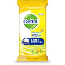 DETTOL Antibakteriální ubrousky na povrchy Citron a Limeta 32ks