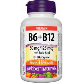 Webber Naturals Vitamín B6 + B12 s kyselinou listovou 120 kapslí